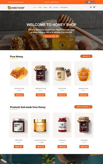 Free Honey Shop WordPress Theme – HoneyShop Lite